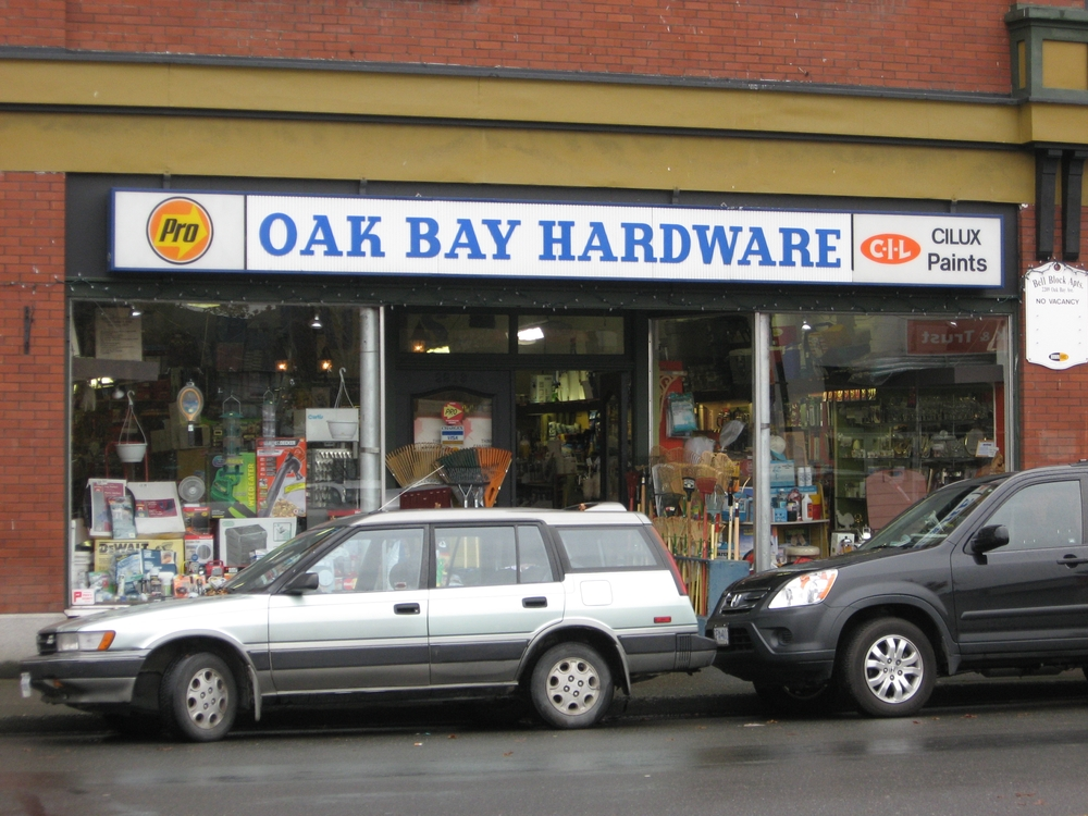 Oak Bay Hardware Store. Main Street is a mix of old and new, upscale and local businesses.