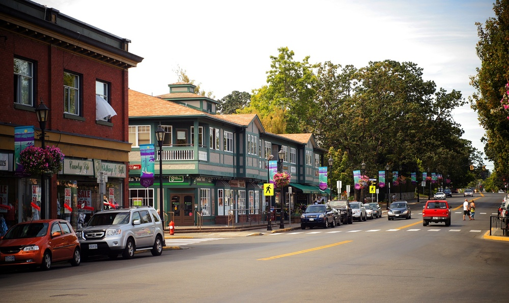 Oak Bay streetscape, eclectic mix of shops.