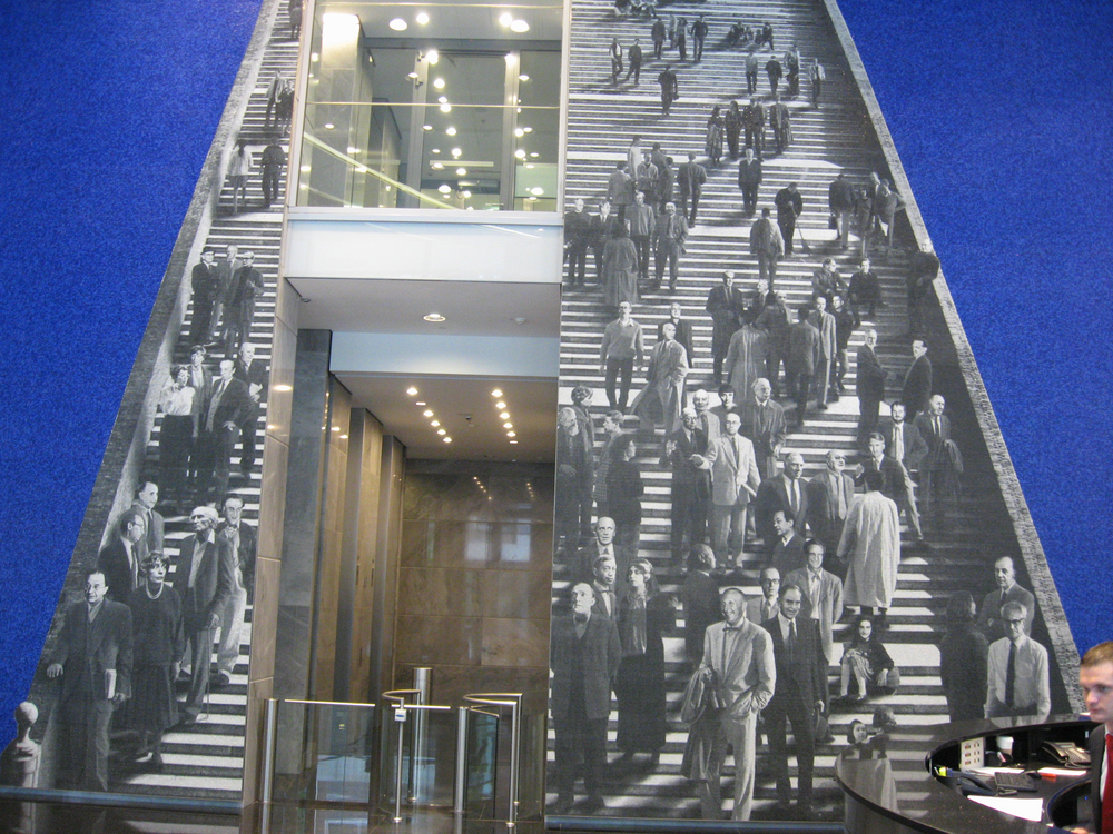 "Title ""Staircase"" is a wonderful example of a mural that interacts with place to create a synergy for the eye and mind."