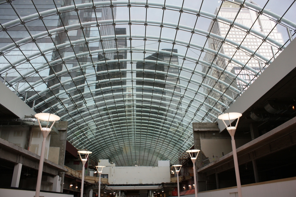 The Core shopping centre's glass roof is 3 blocks long, creates a unique perspective of the surrounding office buildings.  It also creates a sunny shopping experience even in the middle of the winter.