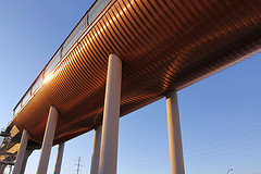 This is an image of the copper underbelly of the Sunalta Station of Calgary's new west leg of our Light Rapid Transit System.  It is the new gateway into the Downtown from the west, offering riders a spectacular view of the downtown skyline. In the evening when the sun is setting, the glass towers can become a symphony of gold and copper colours.  I am not sure if the designers had this in mind when they chose the materials.