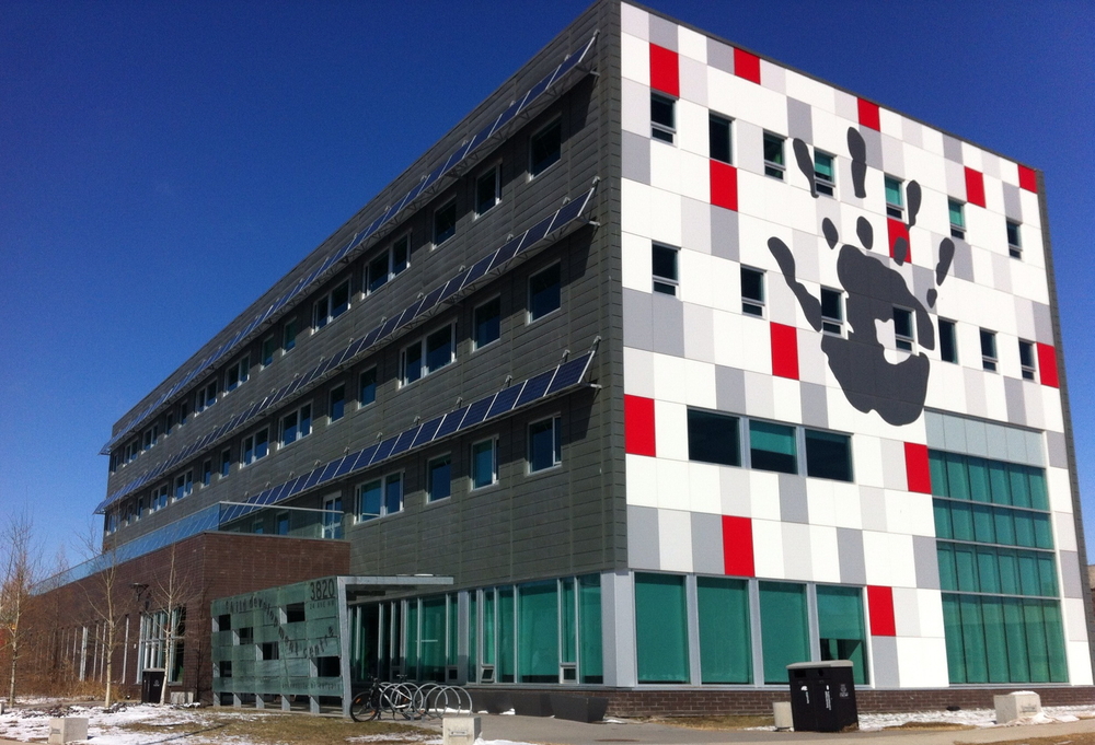 "The Child Development Centre at the University of Calgary is one of several new buildings that are transforming it into a ""design"" campus.  This building I believe was Calgary's first LEED platinum building.  It is home to a school and The Ability HUB for Autism and several other organizations."
