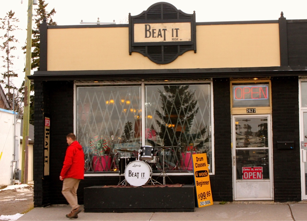Urban living is about having quirky shops around the corner like the Beat It drum music shop.