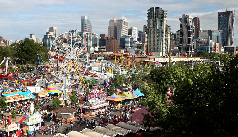 Aerial photo of the Calgary Stampede with all of its colour and pageantry. Truly one of the greatest festivals in the world appealing to people of all ages and backgrounds. (photo courtesy of the Calgary Stampede).