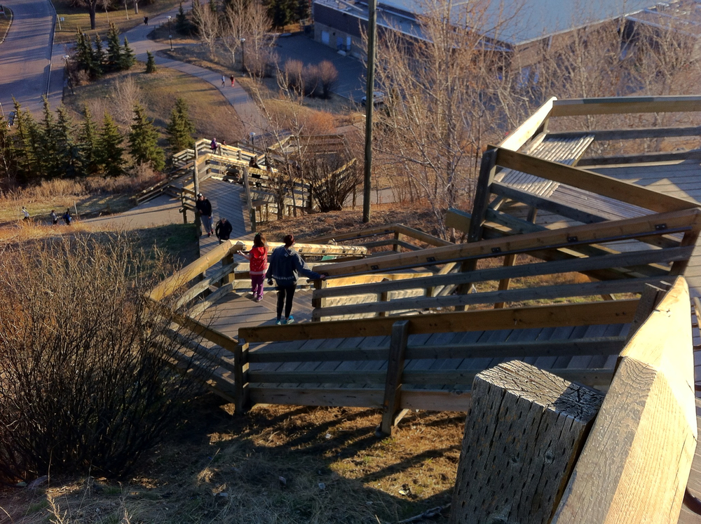 Crescent Heights stairway links the north side community to Prince's Island and downtown. These stairs are a popular training area for athletes, as well as recreational walkers.  The river escarpment offers spectacular views of the downtown skyline and Rocky mountains.