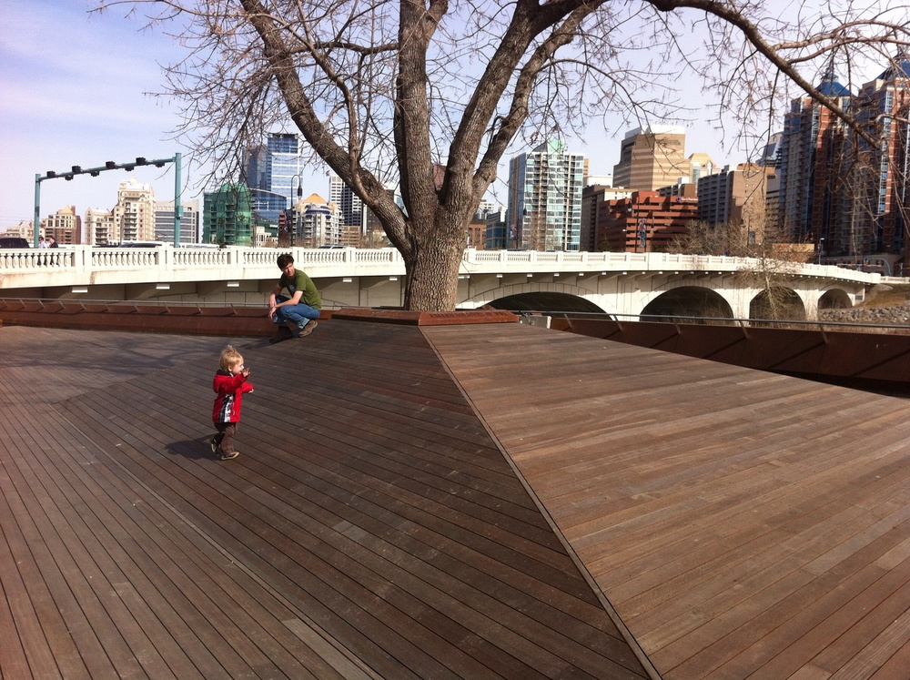 Kids will also love running up and down the ramp.  It is a cleaver design that allows for multiple uses for people of all ages and backgrounds.  It also offer great views of the Louise Bridge and downtown skyline.