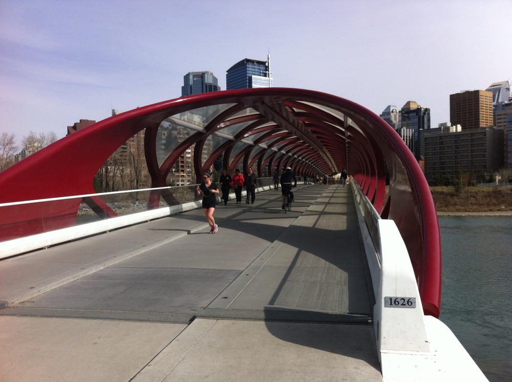 The Peace Bridge is popular with downtown workers morning, noon and night - be it walkers, runners or bikers.