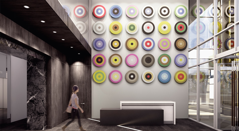 Rendering of lobby of MARK on 10th condo with the Douglas Coupland artwork which will be visible to pedestrians on the sidewalk.