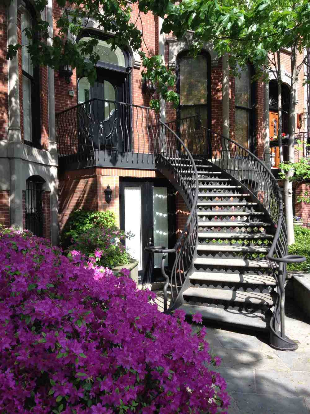 Another curved staircase that demonstrates the importance of ornamentation and decoration to create pleasant walking streets in urban setting.  The flowers magnify the sense of beauty and pride of ownership.