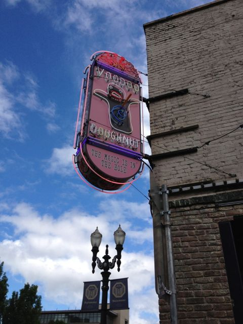 This unassuming sign and building is home to one of Portland's biggest tourist attractions Voodoo Doughnut.  They say the magic is in the hole but from what we saw it wasn't the hole people were buying.