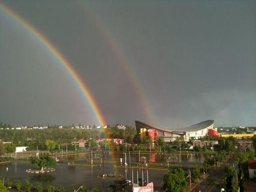 At the end of the day Friday an amazing double rainbow appeared, as if mother nature was saying better times are ahead.