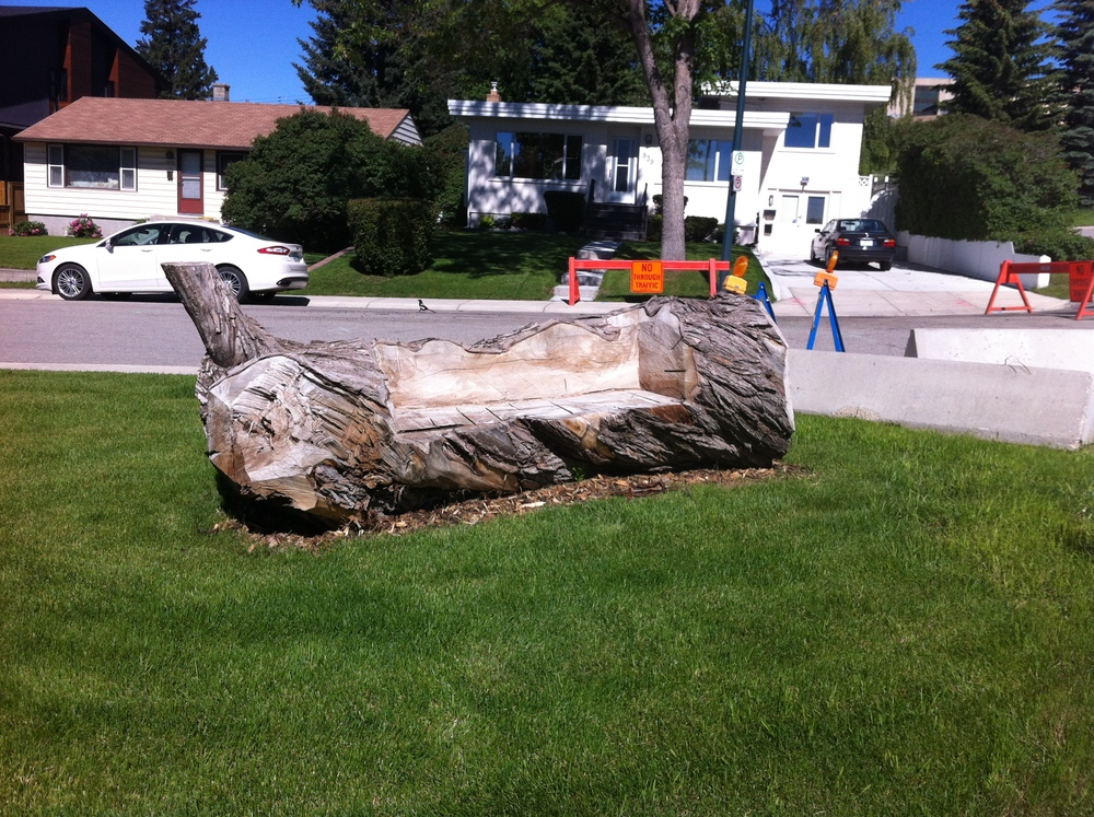 Found this bench carved out of a tree trunk strategically placed on the lawn so you can see the downtown skyline.  While the lawn is attached to a house, it is not fenced and given it is at a corner it very much feels like a pocket park.  A hidden gem!
