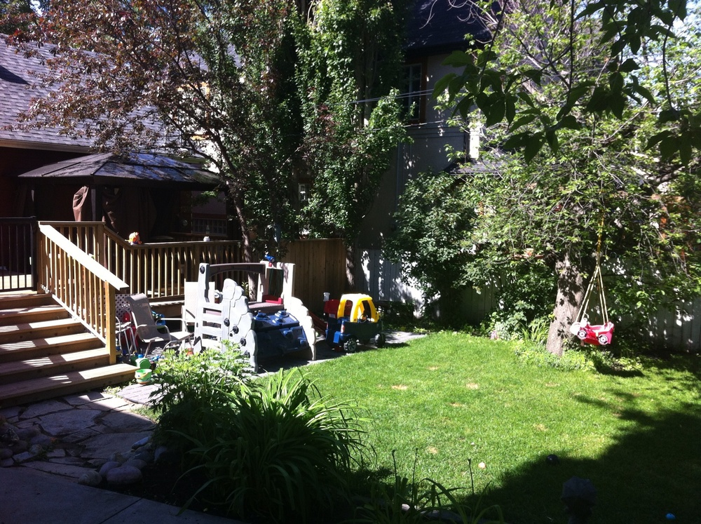 A neighbour's backyard becomes the kid's personal playground just like in the suburbs.
