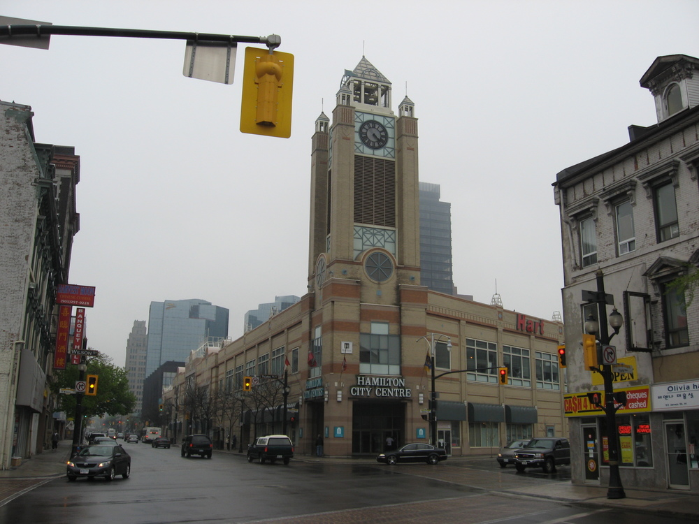 Hamilton City Centre/Jackson Square  shopping mall looking south from James Street north.  Once downtown was home to several department stores, today there are none.