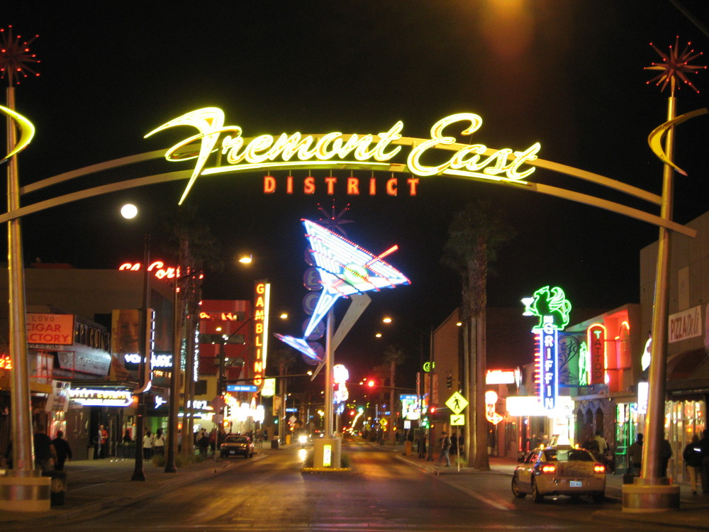 Freemont street recalls the main streets of many cities from the mid 20th century when the streets were indeed brighter and more fun visually than they are today.