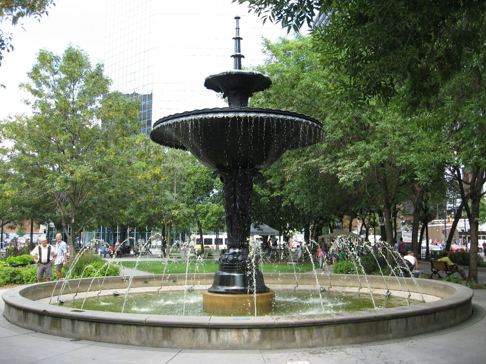 Fountain in Gore Park is a throw back to age of urban ornamentation and decoration.