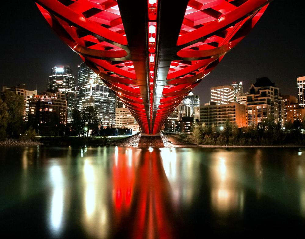 The Peace Bridge: This is photo of the underside of the Peace Bridge taken by Neil Zeller and was used by Tourism Calgary from my Media Recognition Award.  The Peace Bridge has become one of the most photographed structures in the City.  Like a lot of urban icons it was hated by many but over time has become part of a city's brand e.g. EiffelTower.