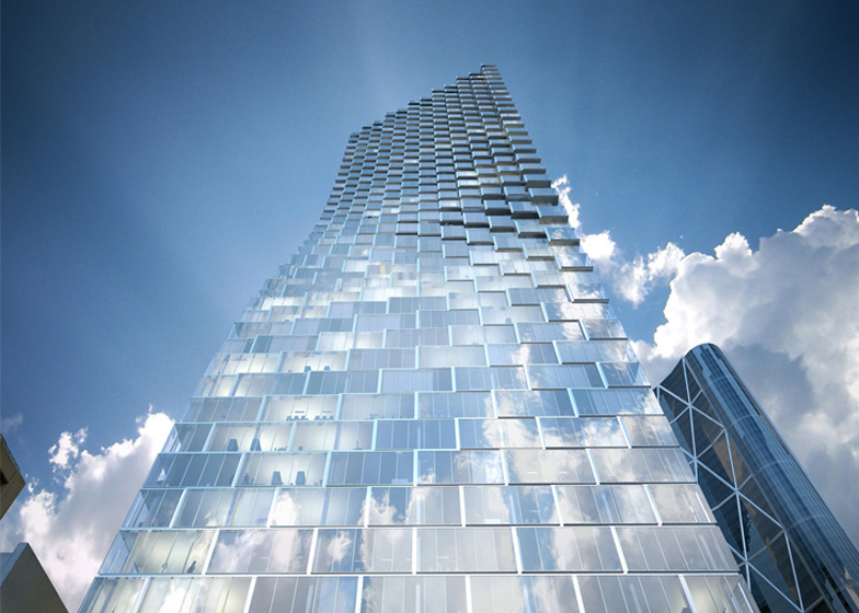 Rendering of TELUS Sky looking up from the sidewalk. If this an accurate rendering it will be a very sensual uplifting visual experience. Love the way it interacts with the blue sky and clouds. From this perspective it lives up to its Sky name.