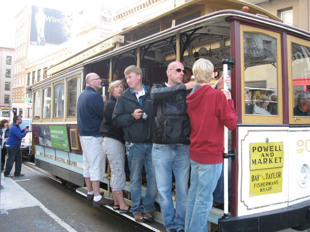 Hopping on the street car to start the real SF tour.  Who knew transit could be so much fun...every city should have a street car/trolley route.