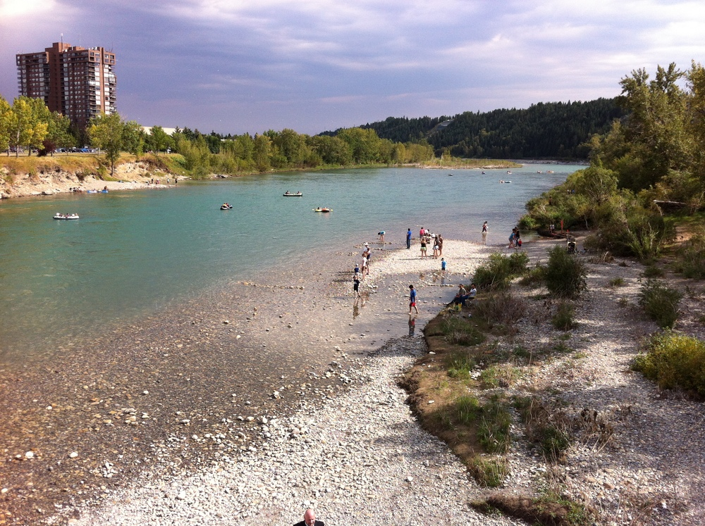Edworthy Park on the west side of the Calgary's city centre is a very popular gravel beach.