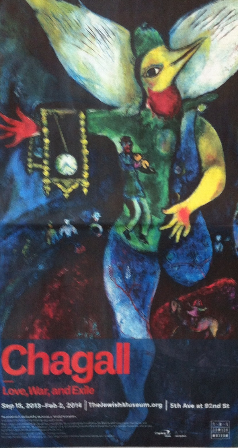 This is the image from the full page ad for the Chagall exhibition at the Jewish Museum. With a bit of flattening this would make a great poster, the colours were as rich as those of his artwork.