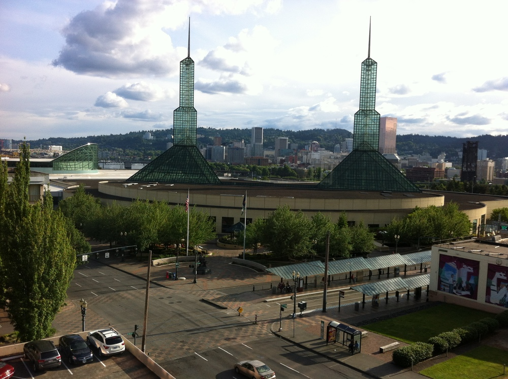 The view of the Portland Convention Center from the Red Lion's Convention Centre Hotel.