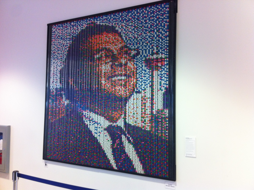 Franz Spohn's gum ball portrait of Mayor Nenshi captures the mayor's signature smile with the iconic Calgary Tower in the background.  There is a wonderful sense of optimism in this artwork that is at the root of Calgary's sense of place and BVC's place in that culture.