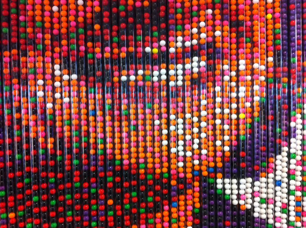 Yes those are gum balls! This is a close up of Premier Redford's smile.
