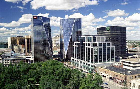 Regina's twin iconic office towers look very similar to those being proposed for Calgary's Eau Claire Market.