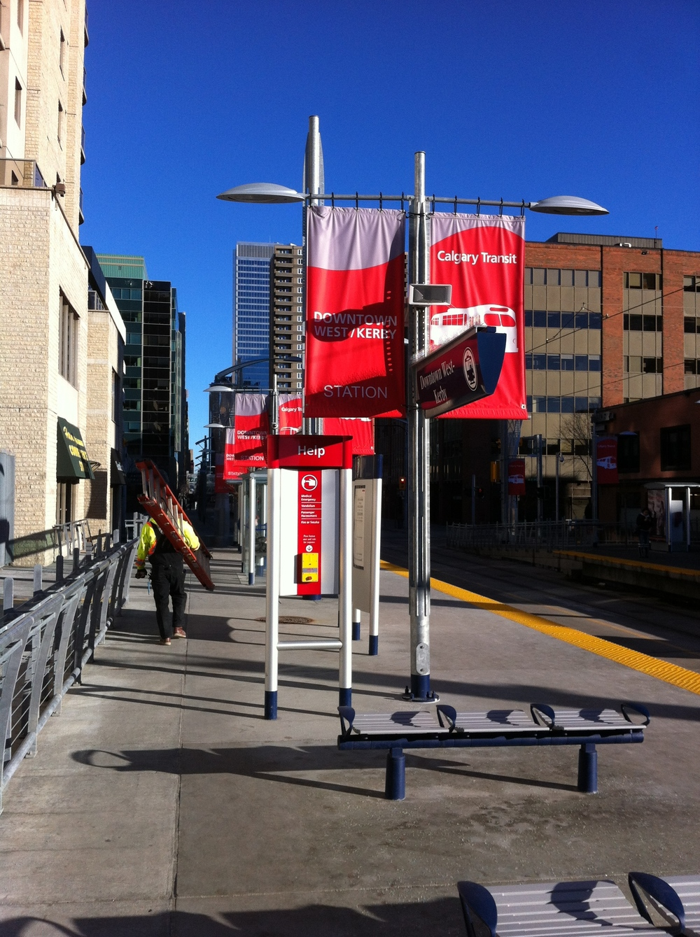 Imagine if these LRT station banners used children's art to create a more unique sense of place and play.
