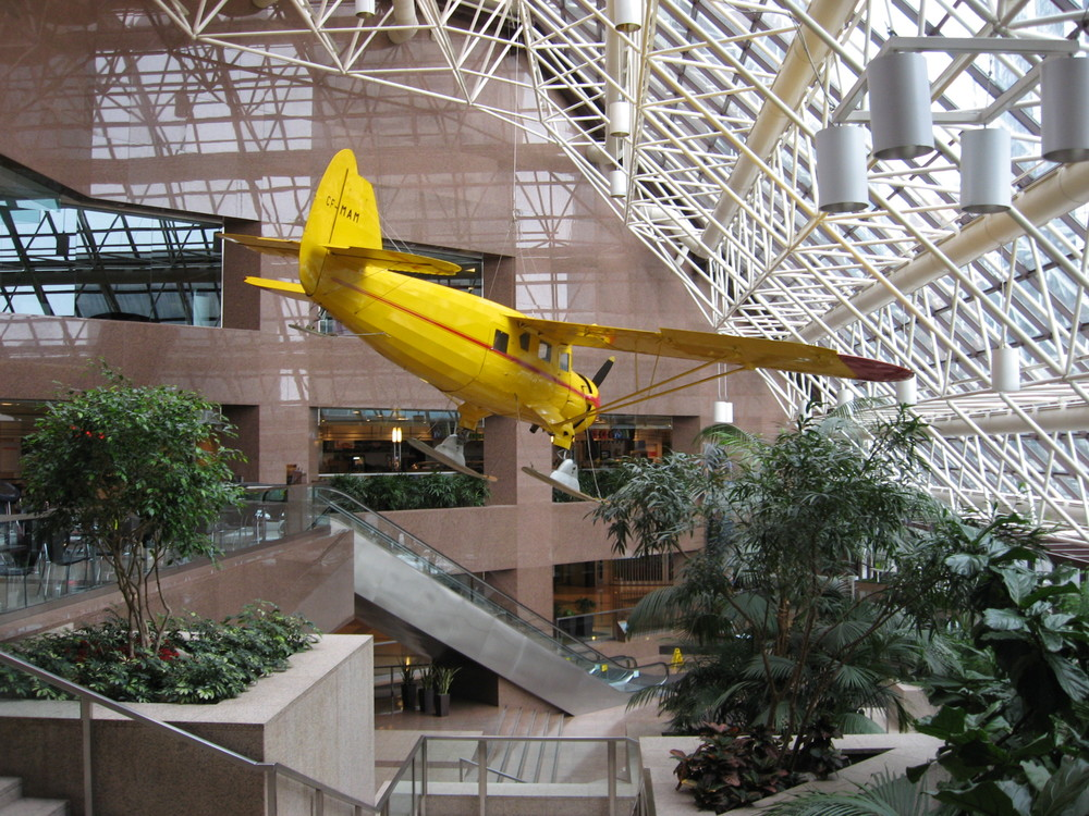 This is an actual plane hanging from the ceiling of the Suncor Centre.