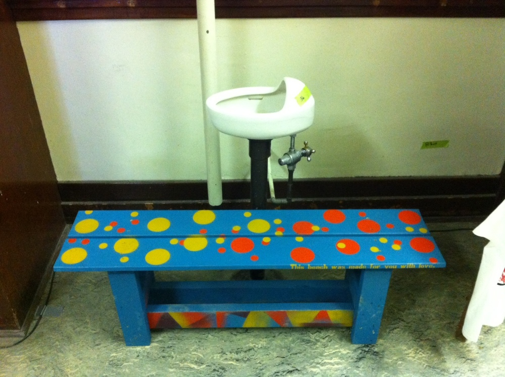 There were several folk art benches in the school but this one next to a vintage water fountain caught my eye.