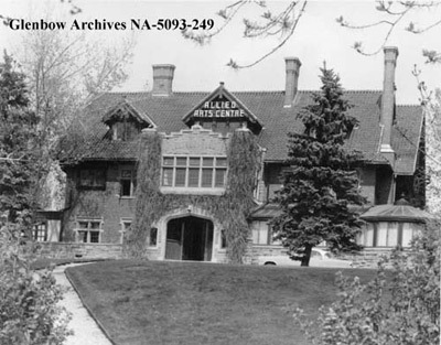 Found this image of the Allied Arts Centre when it was in the Coste House.  Calgary has an interesting history of arts development. This is before the 9th Avenue location with is now a bar I believe. Credit: Glenbow Archives