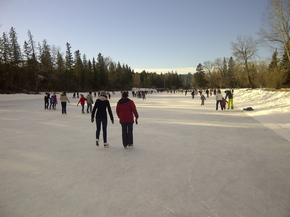 Calgary's Bowness Lagoon is one of the world's best outdoor skating rinks.  Unfortunately it is closed this winter due to the flood.