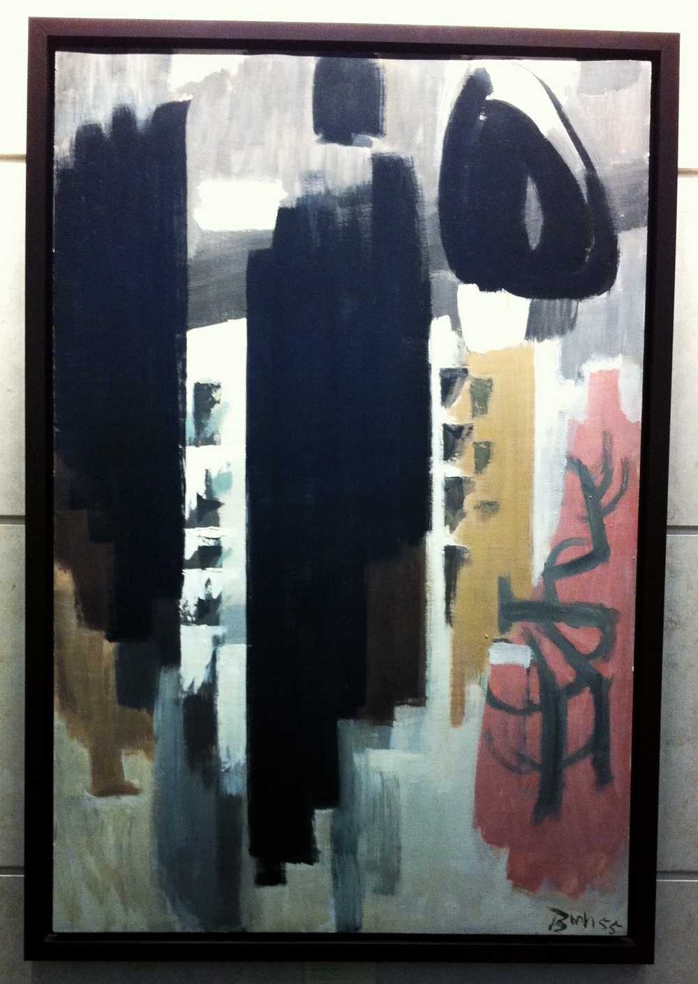 "Tucked away in one of the three elevator lobbies is this unusual Jack Bush painting ""New York 55"" (1955).  Unusual in that most of us associate Bush with bright primary colours, yet this piece is mostly blacks, browns and pinks. The piece definitely conveys New York's sense of place as the world's leading skyscraper city with its collage of vertical blocks, interspersed with smaller marks for windows and swirls for window reflections. This is probably the most literal Bush piece I have ever seen and certainly is museum quality.  Definitely a good choice for EAP as it is one of Canada's best skyscrapers.  Did you know that Downtown Calgary is built at the same density as Manhattan or Chicago?"