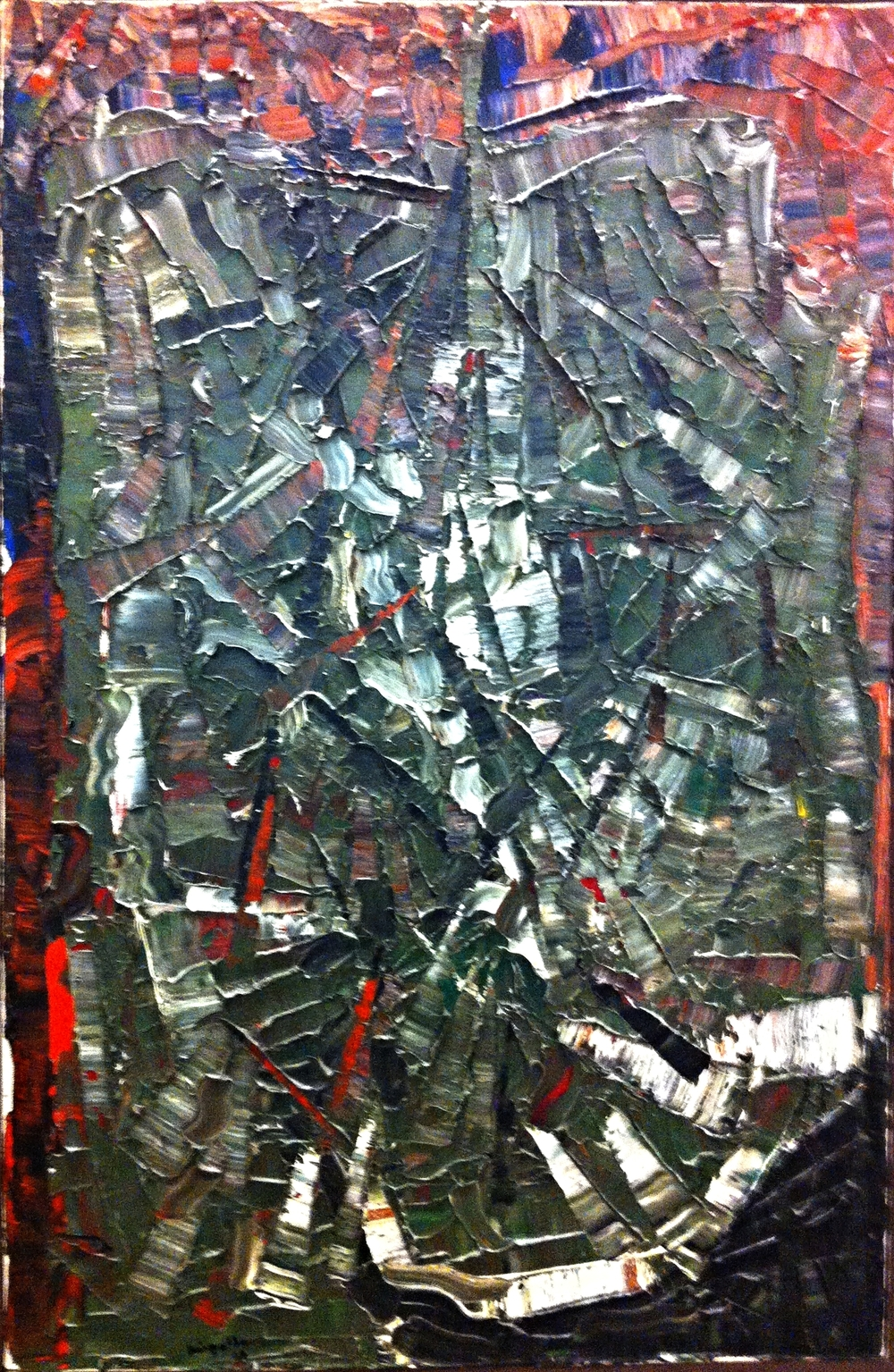 "Any public art gallery in Canada would love to have this piece titled ""Oliviers"" by Jean-Paul Riopelle in their collection.  I wonder if the EAP tenants who pass by it everyday even realize that they get to enjoy a painting by one of Canada's iconic artists everyday.  While other office buildings in North America have modern art in their lobby; there are very few that have iconic works of art."