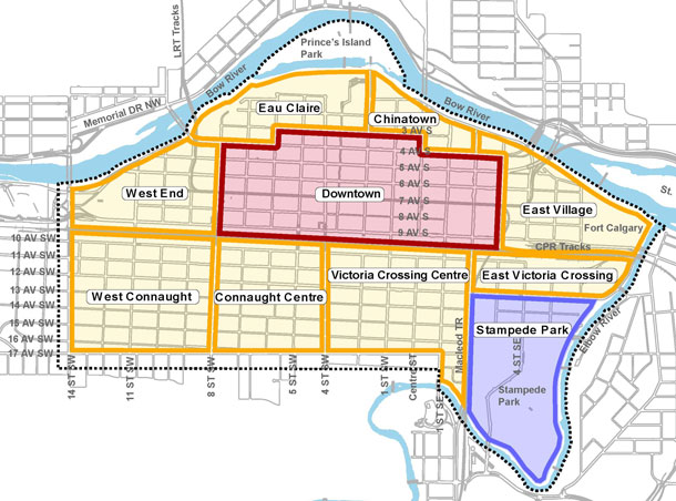 For the City of Calgary, the City Centre is defined as these communities on the south side of the Bow River. Unfortunately this doesn't include the urban communities on the north side of the river. In some documents all of the communities south of the Downtown are referred to as the Beltline. It is all very confusing to the public. Hopefully this will be corrected in the near future.