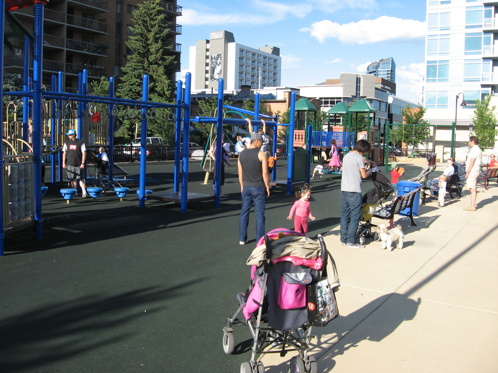 Downtown should also be a place for kids and families like this playground in the Haultain Park. There is also tennis courts and a soccer field that is well used by downtown residents.