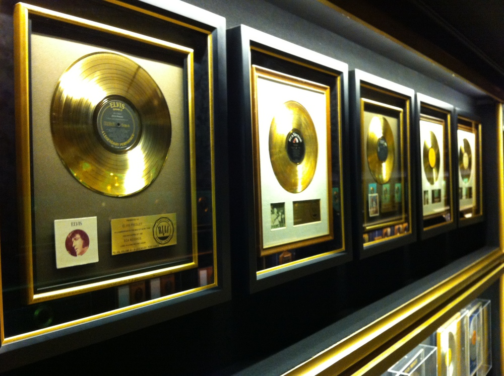 There is a whole room full of gold records.