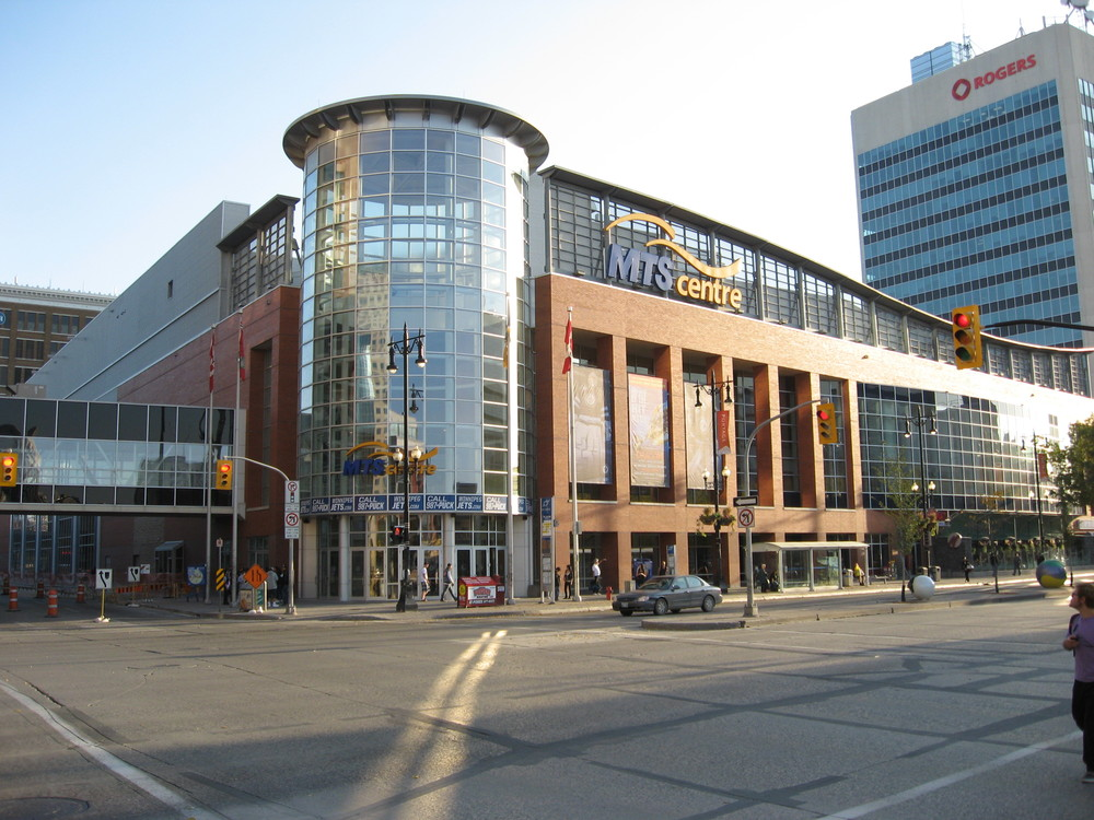 The MTS Centre is located right on Portage Avenue aka Main Street Winnipeg.  It is one of the busiest arenas in North America.