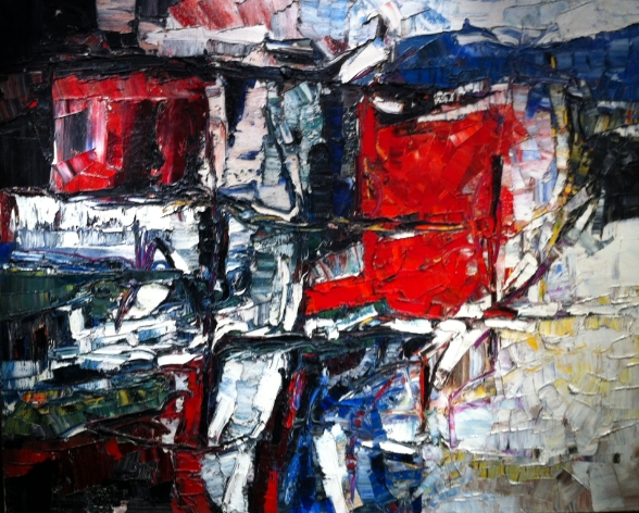 "Port Coton, by Jean Paul Riopelle, (1923 - 2002), oil on canvas, 51"" X 64"", 1959"