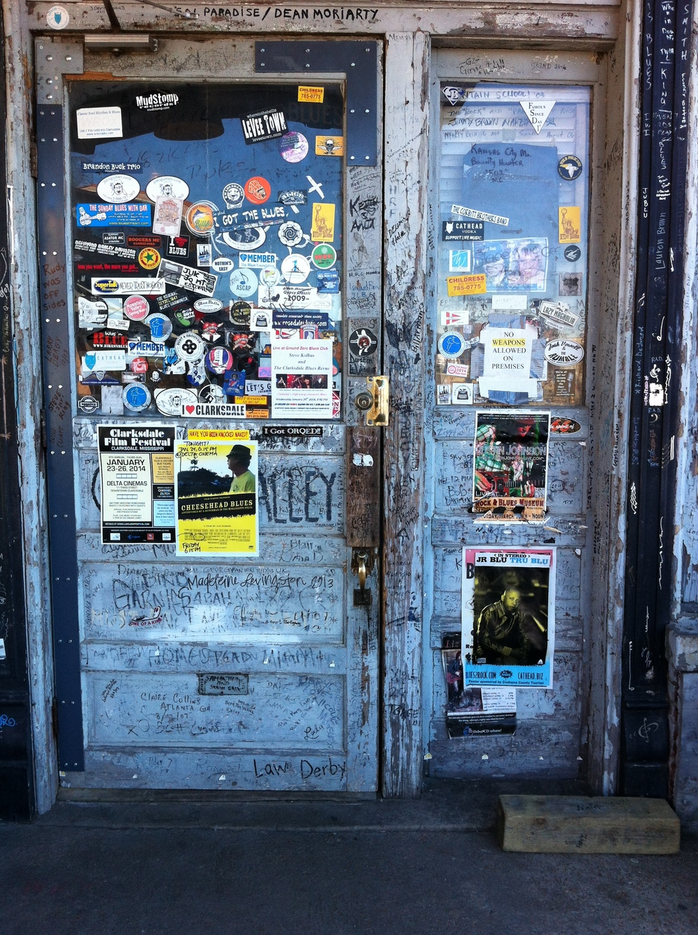 This is the entrance to Ground Zero Blues Club, one of the most authentic and famous blues bars in the world.  The entire inside of the club is like this with people signing their names on every wall, everywhere.  It is a work of art.
