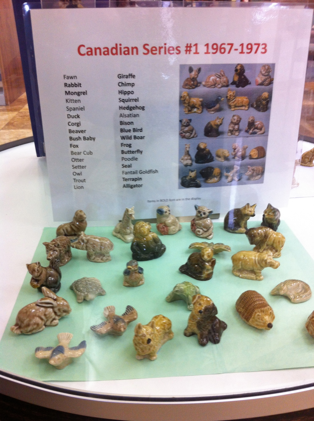 We also found this display of Red Rose Tea figurines at the library.  There were several series but the Canadian Series caught our interest. Who knew the Mongrel was a Canadian animal?