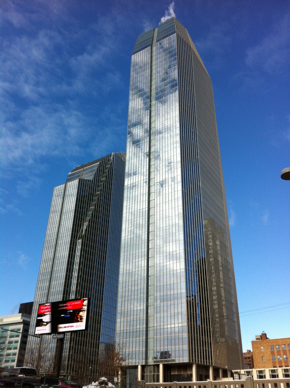 The twin towers of Eight Avenue Place are one of several mega office towers recently completed or under construction. Downtown Calgary is home to one of the largest concentration of corporate headquarters in North America.