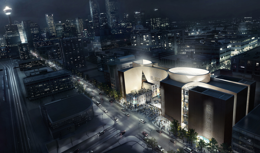 An artists rendering of the The National Music Centre at night. The museum is currently under construction.