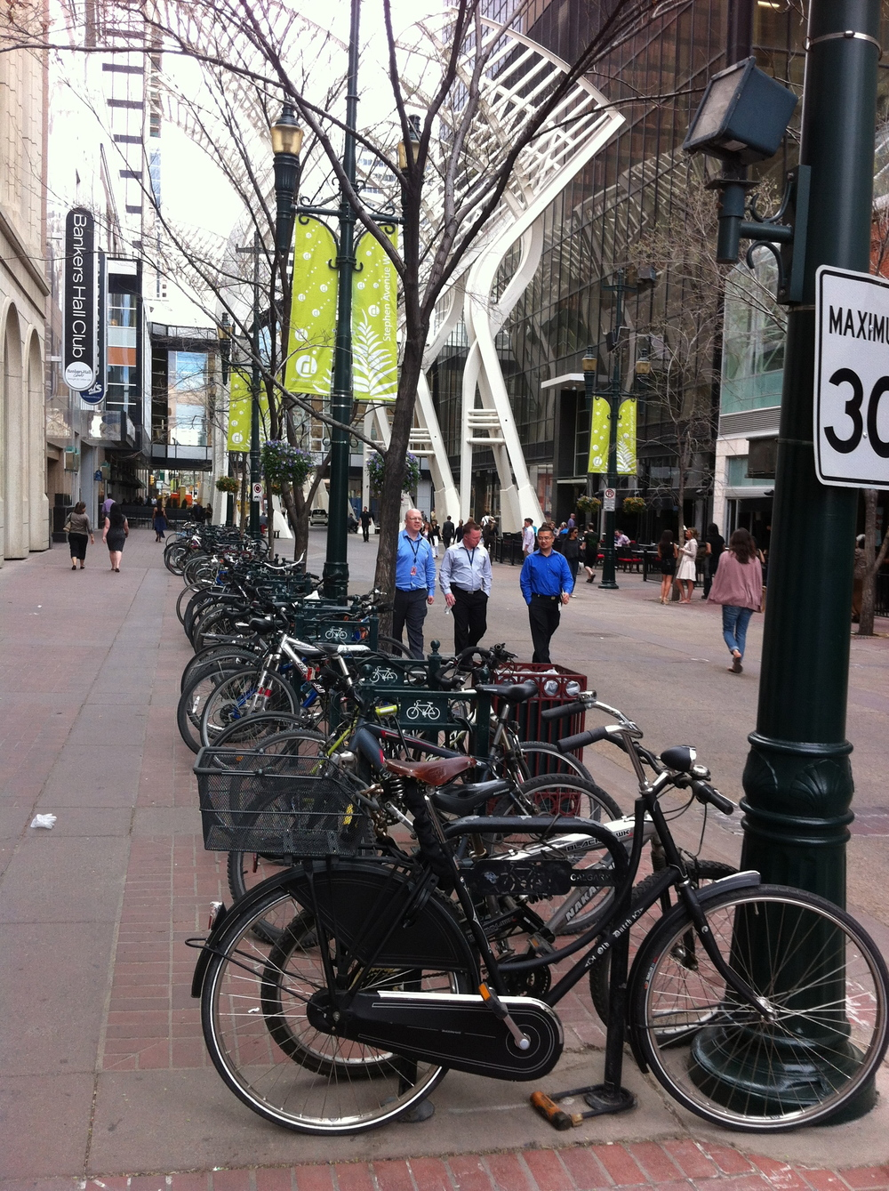 Obviously there are lots of cyclists using Stephen Avenue Walk as a means of getting to work.