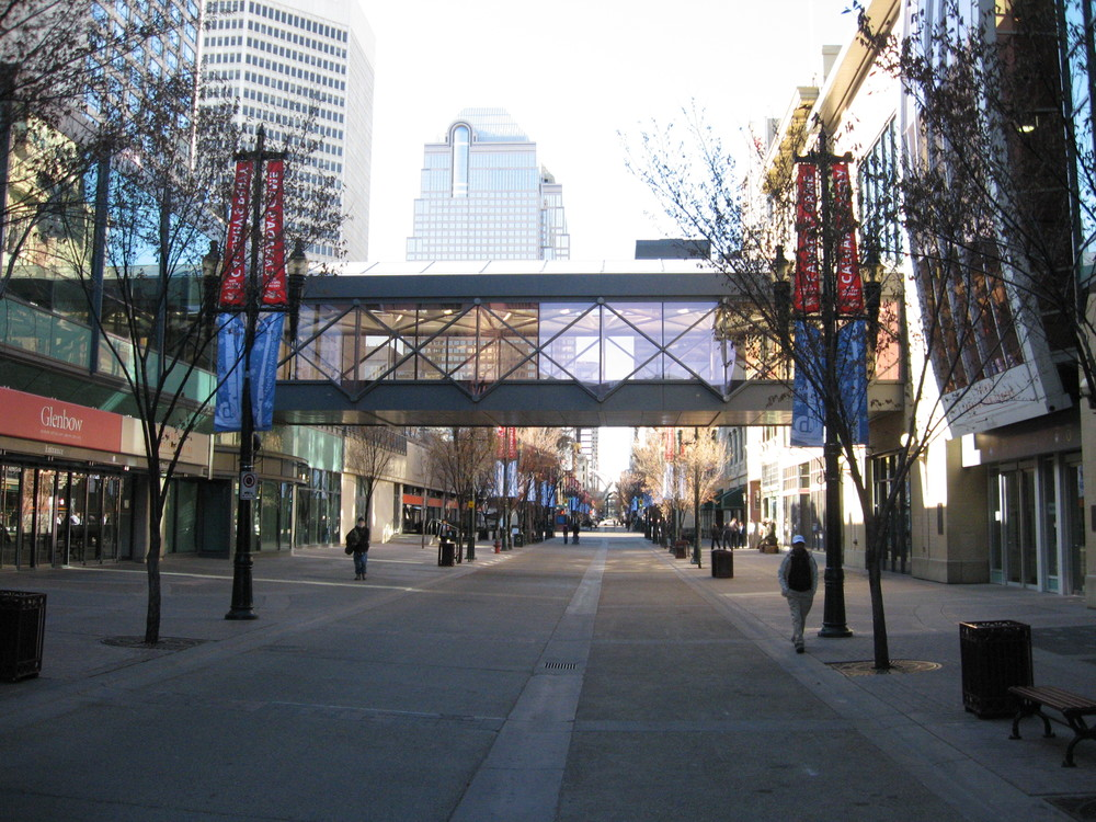 There is lots of room on Stephen Avenue Walk for cyclists and pedestrian to share the space.