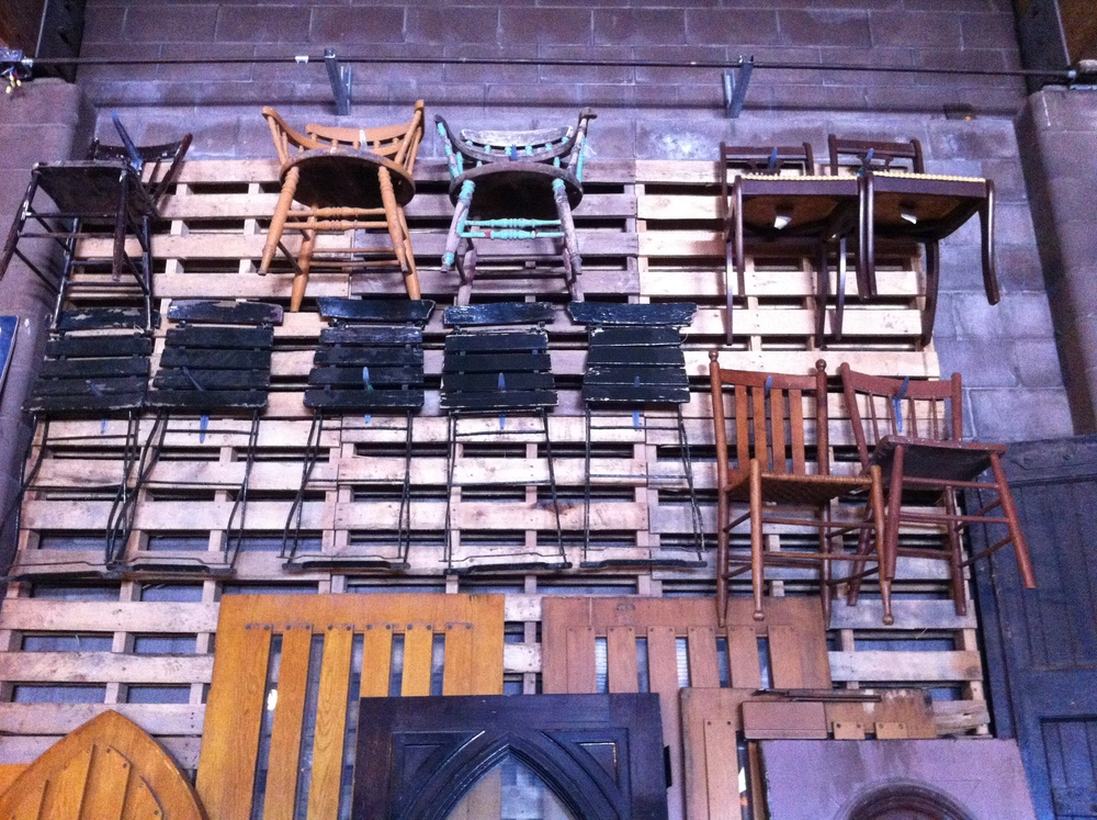 The wall of chairs was impressive.