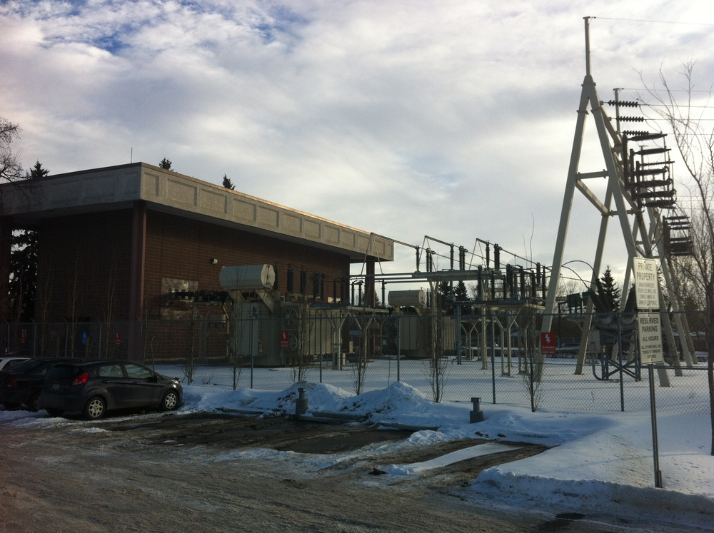 A view of the Enmax transformer that is the Village's neighbour to the southeast.