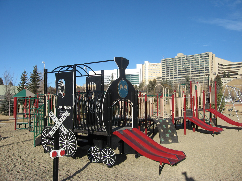 The Train themed playground is just a few blocks away from Lions Village. It is one of several playgrounds that have been upgraded as a result of young families moving into an older established neighbourhood.